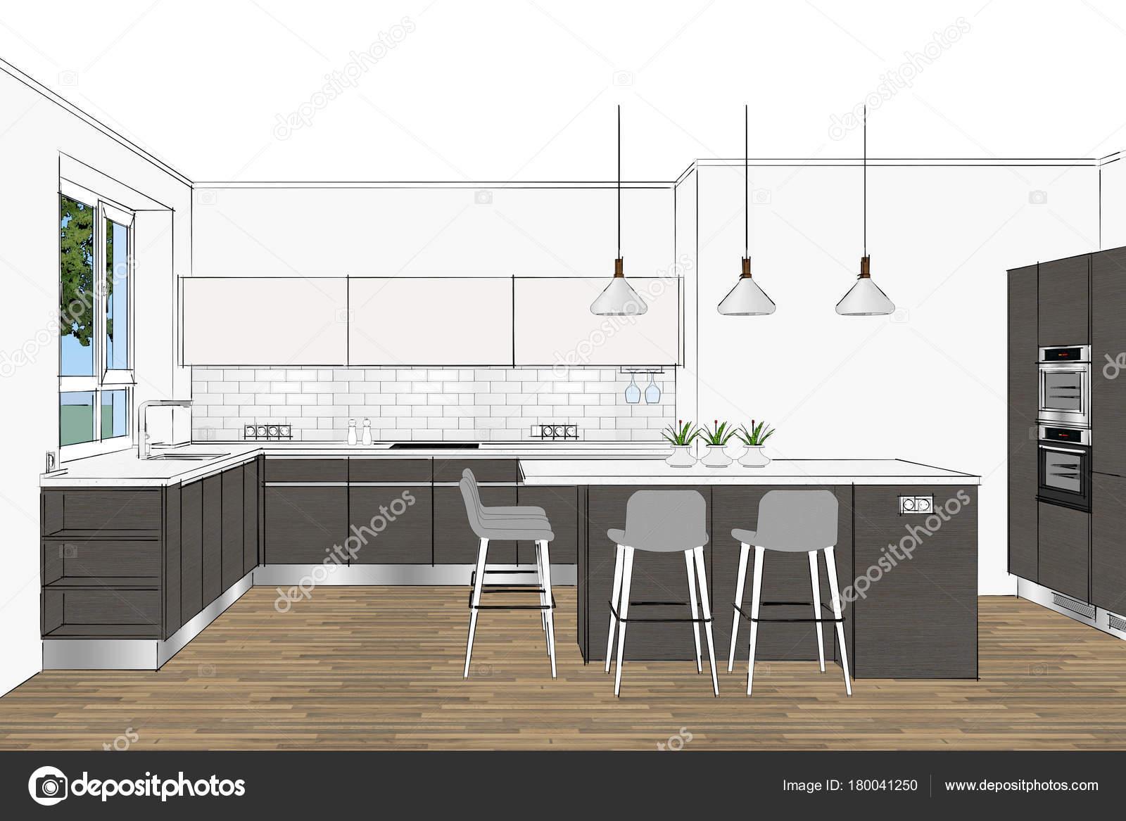 Renderizado Moderno Diseño Cocina Interior Claro Diseño ...