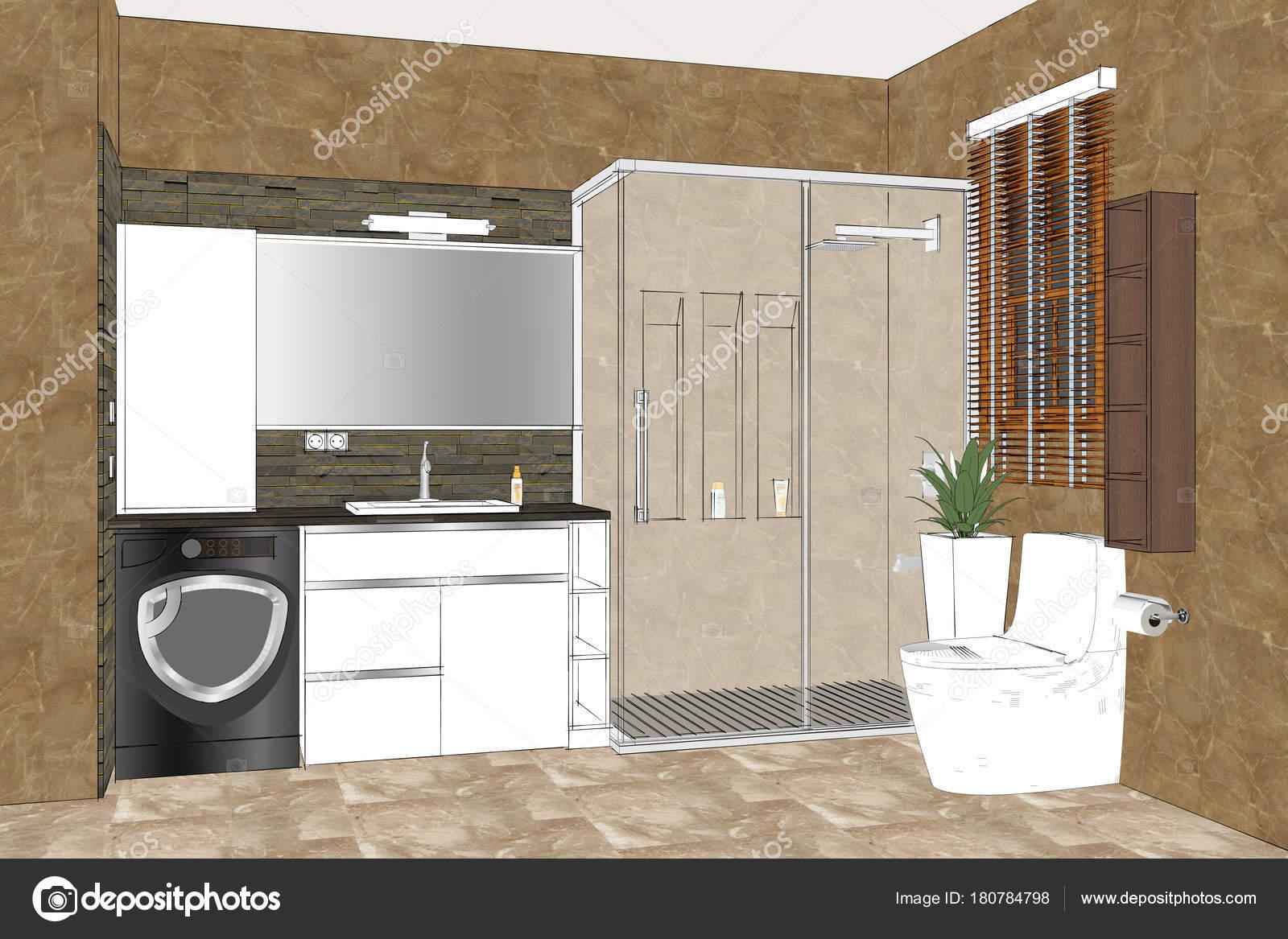 Ilustración Dibujo Lineal Interior Cuarto Baño Diseño Interiores ...