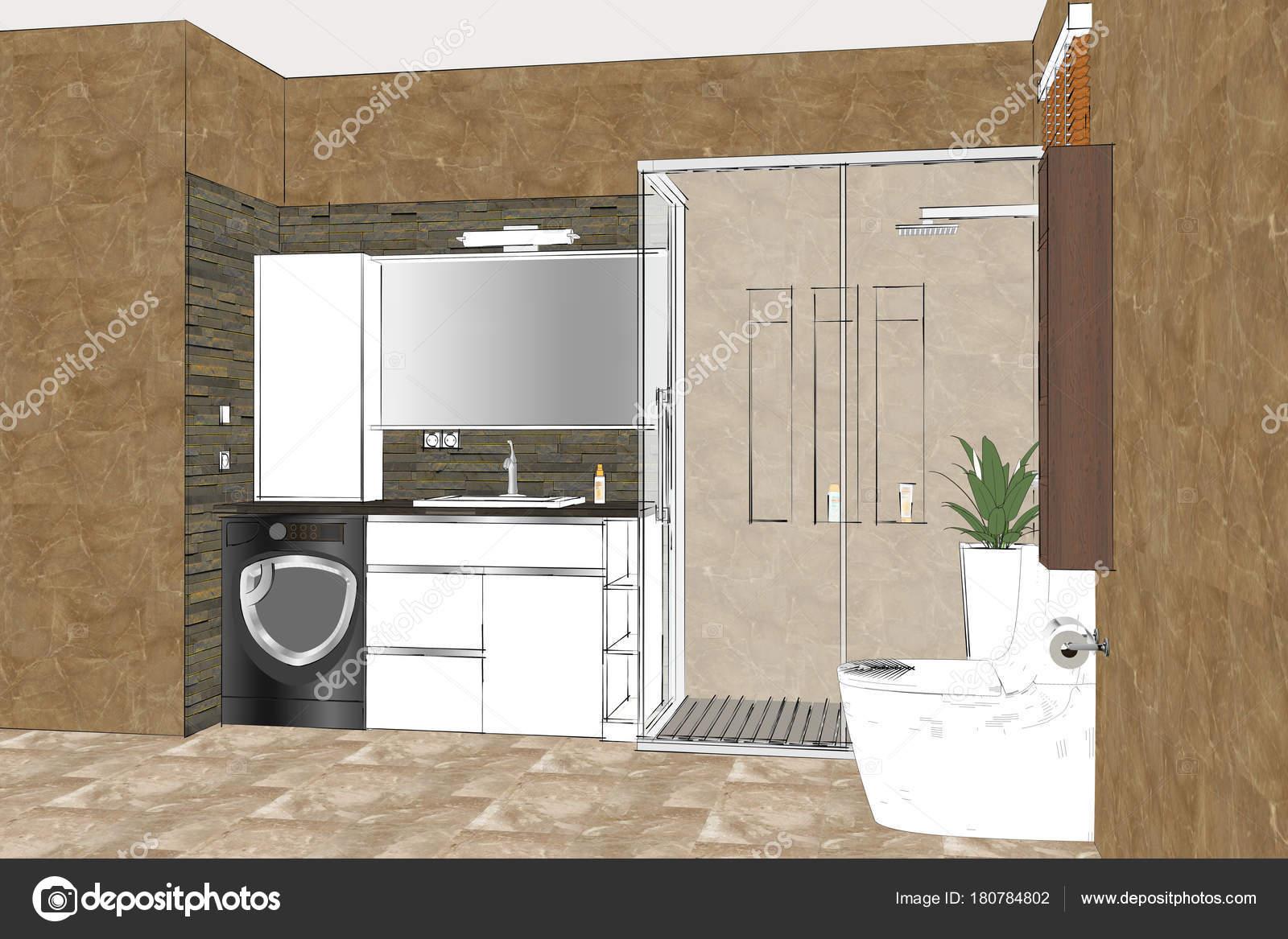 Stock Di Arredo Bagno.Illustrazione Schizzo Lineare Arredamento Bagno Design Interni