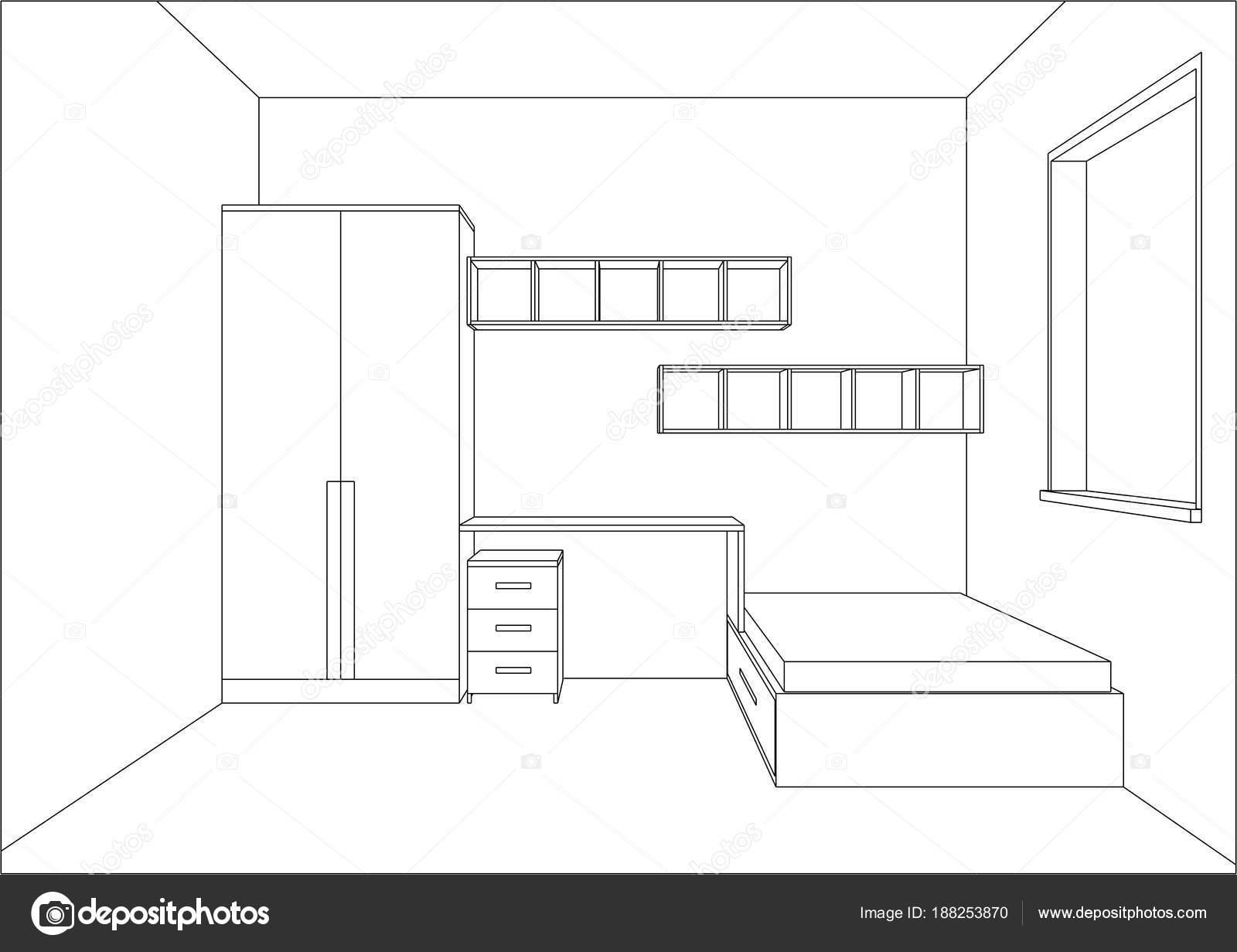 3d vector illustration modern kids bedroom furniture design stock illustration