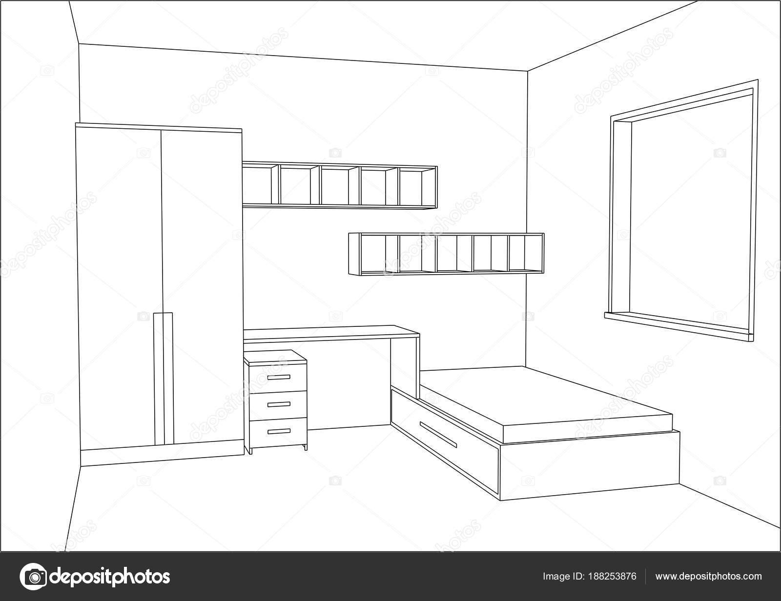 3d vectorillustratie moderne kinderen slaapkamer meubels ontwerpen stockvector