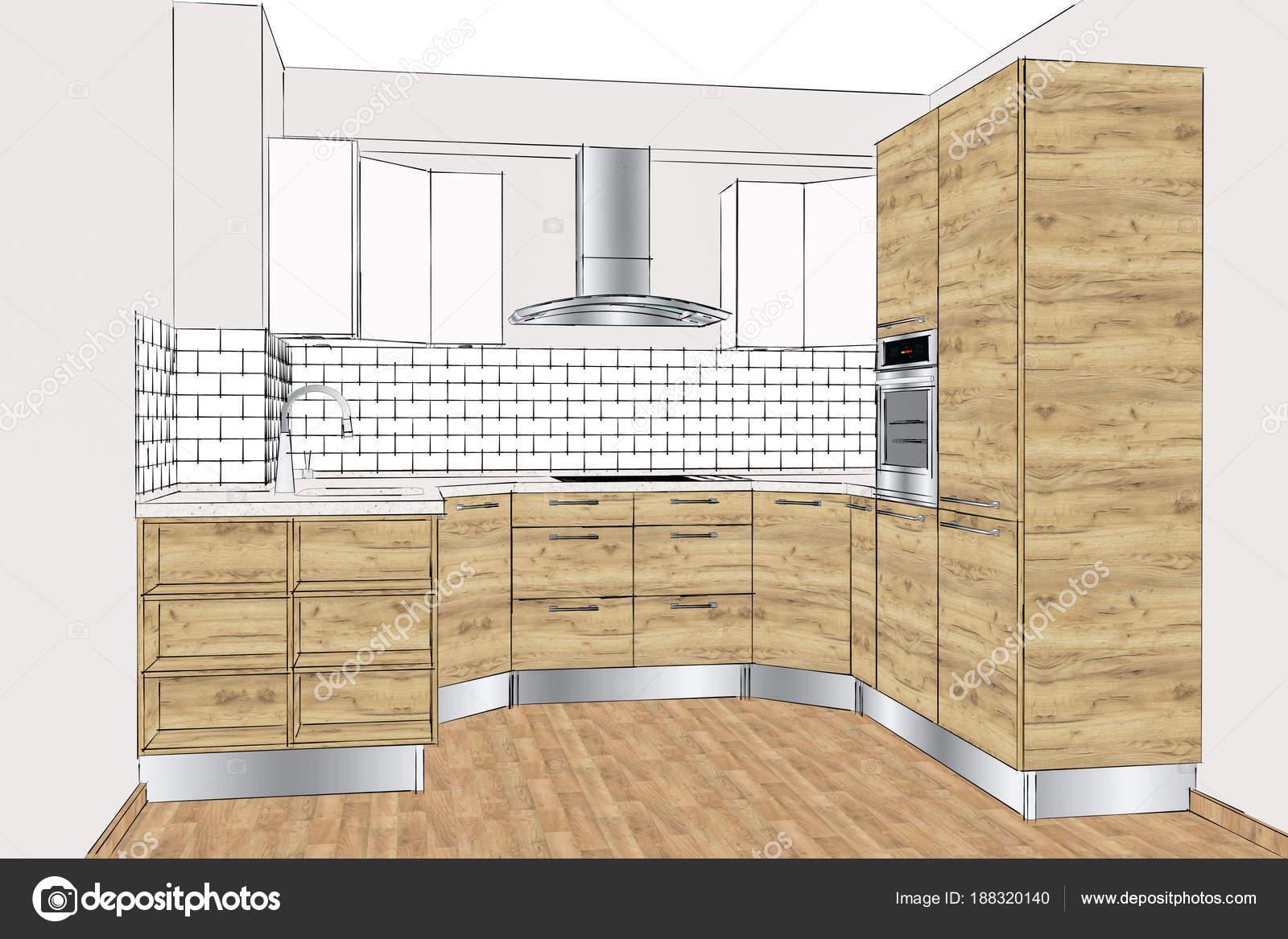 Illustrazione Disegno Della Cucina Moderna Nell Interiore Domestico ...