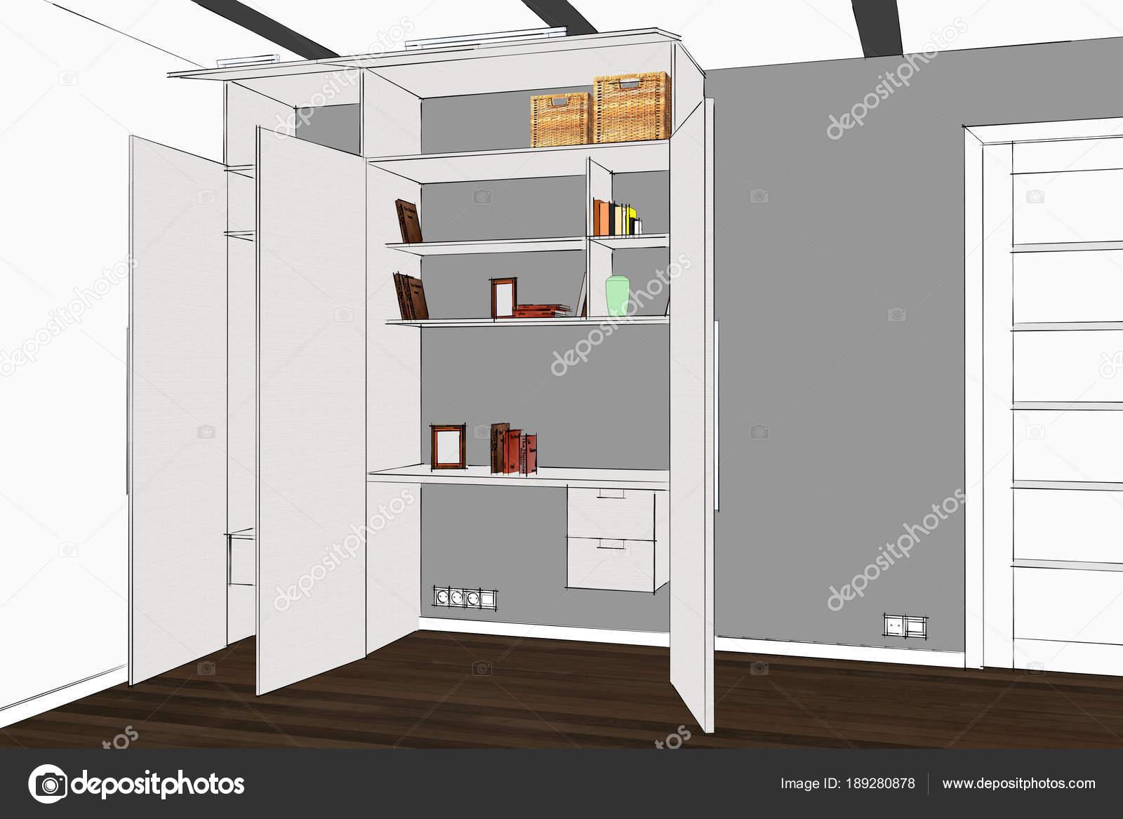 Rendering Kleiderschrank Inneren Moderne Funktionelle Garderobe Mit
