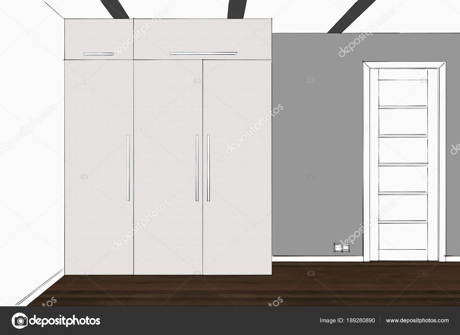 Rendering Kleiderschrank Inneren Moderne Funktionelle Garderobe Mit ...