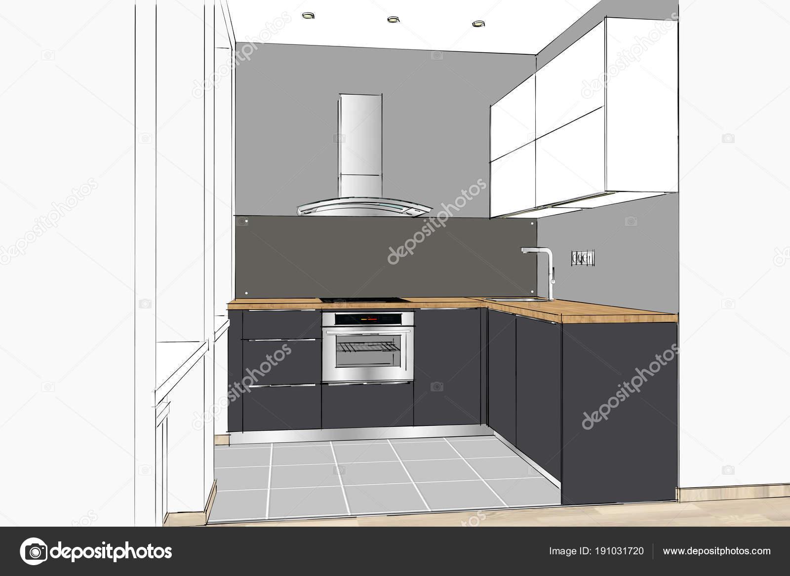 Renderizado Moderna Cocina Diseño Interior Del Apartamento
