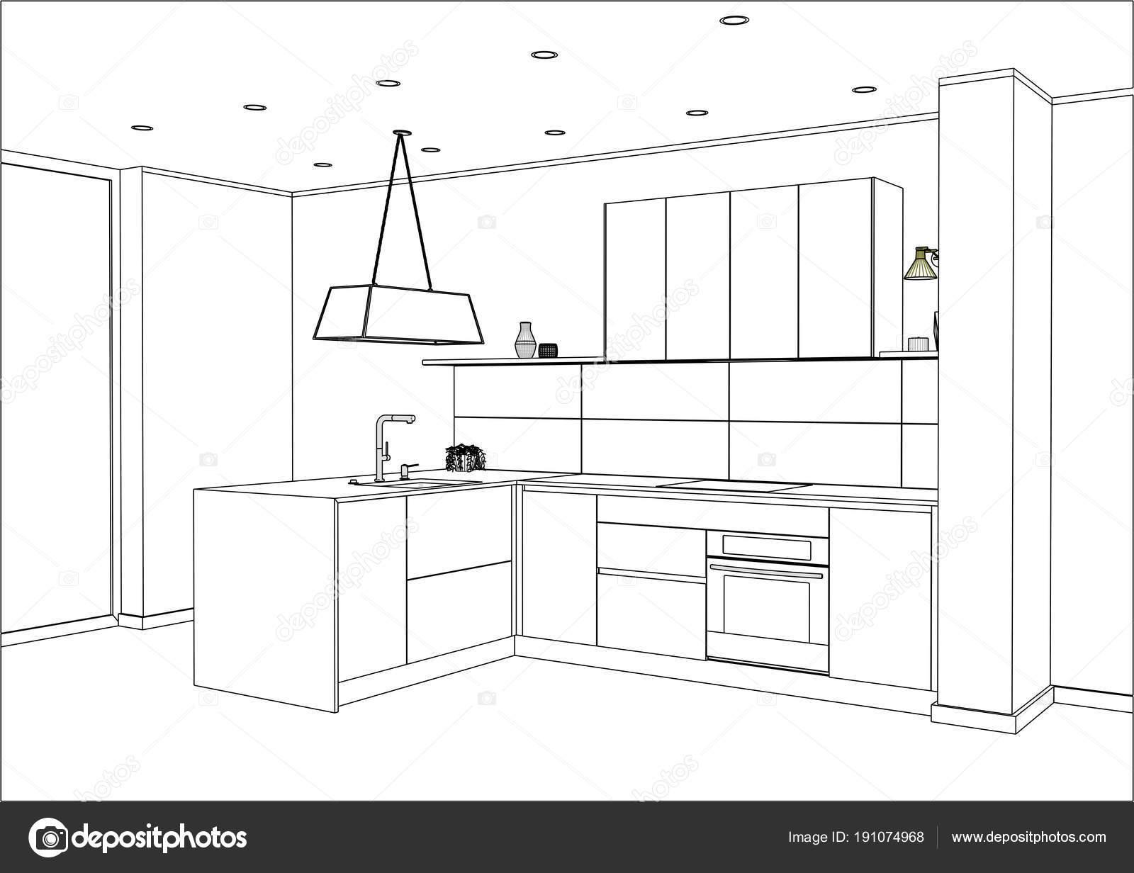 Dibujo De Cocina Con Adornos Y Electrodomésticos. Península De Cocina En La  Habitación. Lámpara Colgante U2014 Vector De Richard_salamander| ...