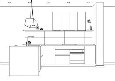 3D vector sketch. Modern kitchen design in home interior.