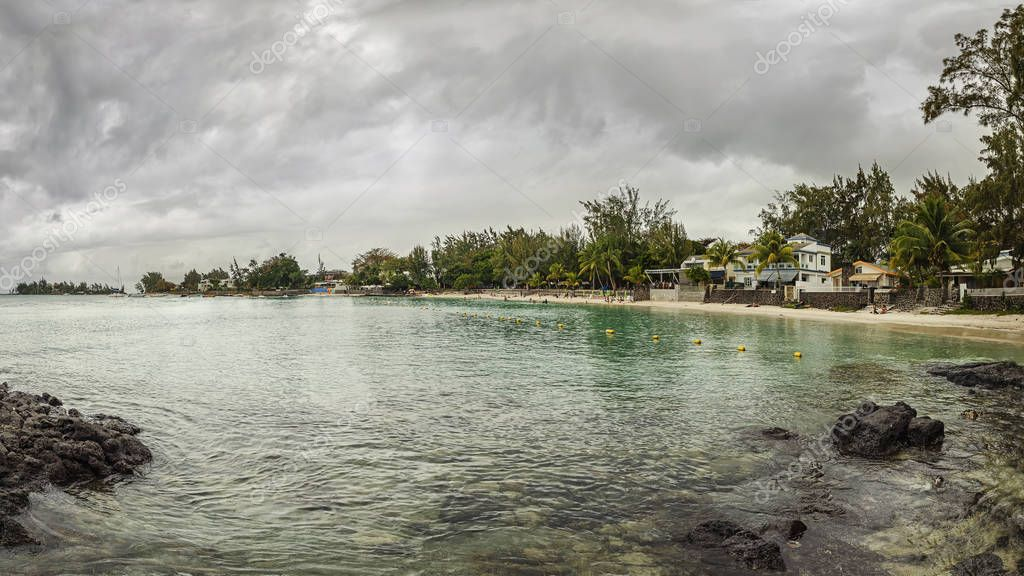 Clear water in the bay in Mauritius