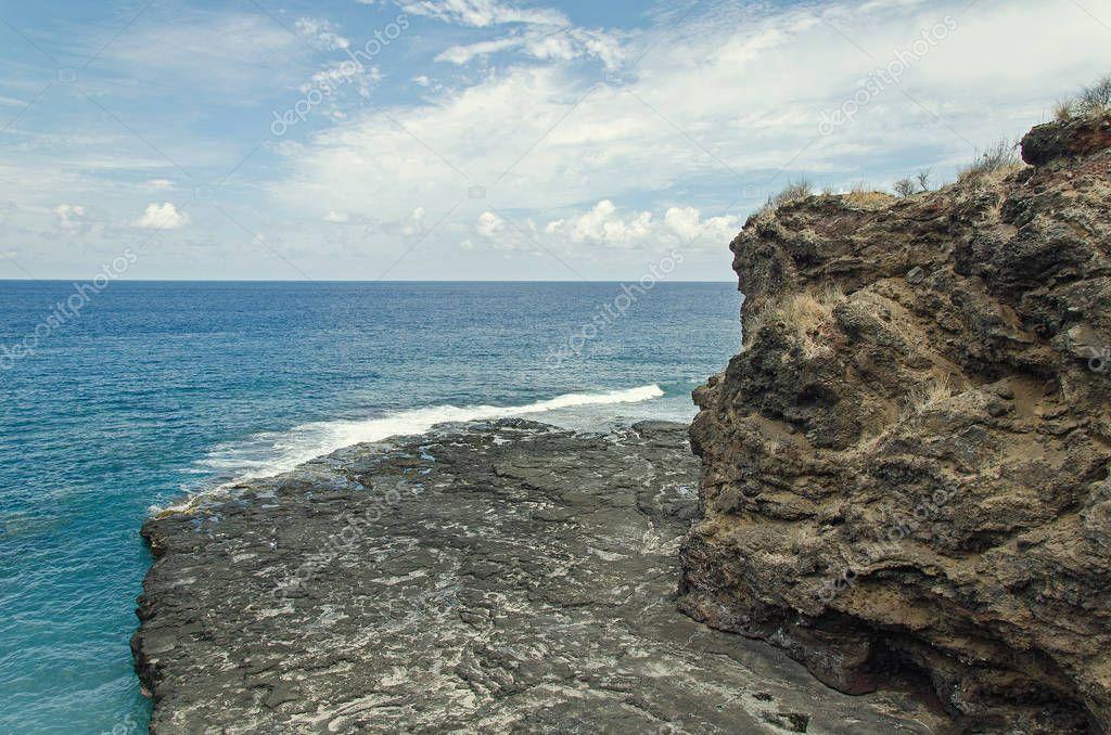 A rocky shore on the beach, Reunion island