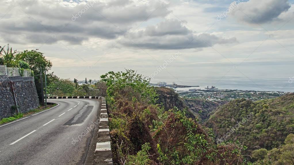 A road near the precipice, Reunion island