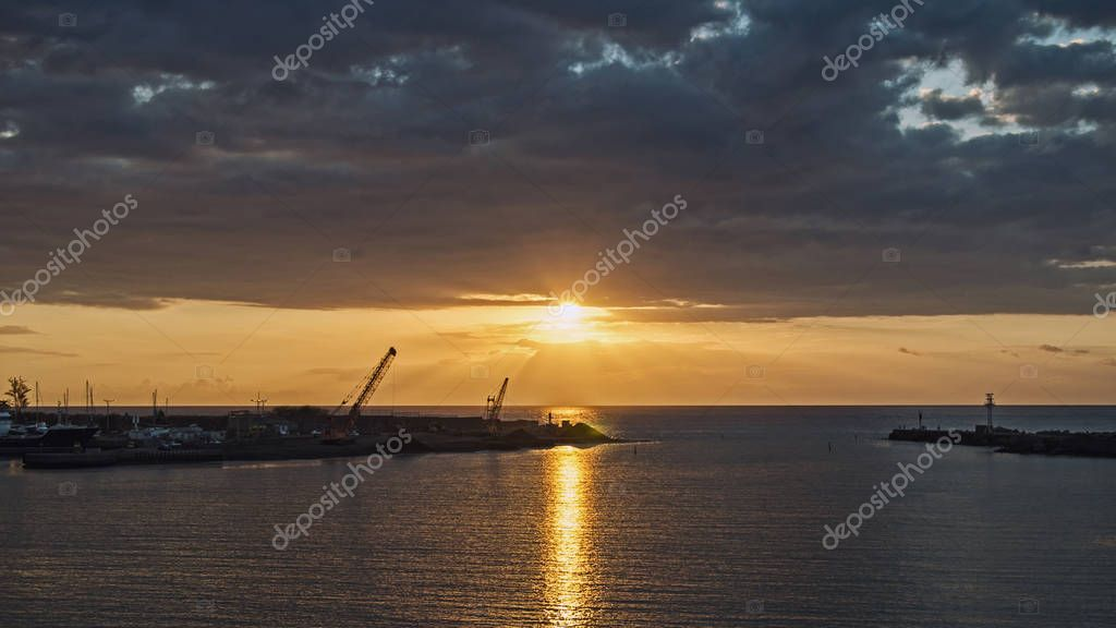 A sunset near the industrial port of the Reunion island