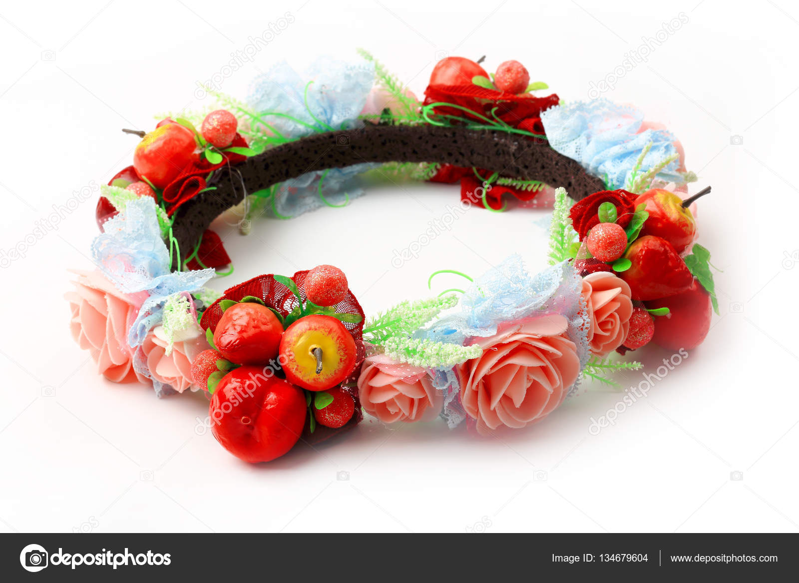 Fake flower crown or forest coronal isolated on white stock photo colorful fake flower crown or forest coronal isolated on white background photo by kongsky izmirmasajfo