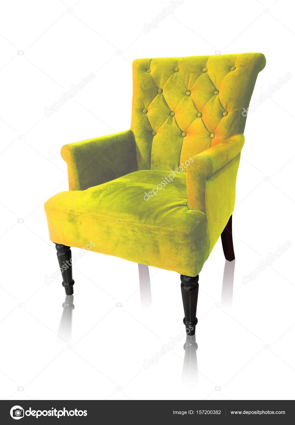 Fauteuil vintage jaune, isolé sur un tracé de détourage blanc ...