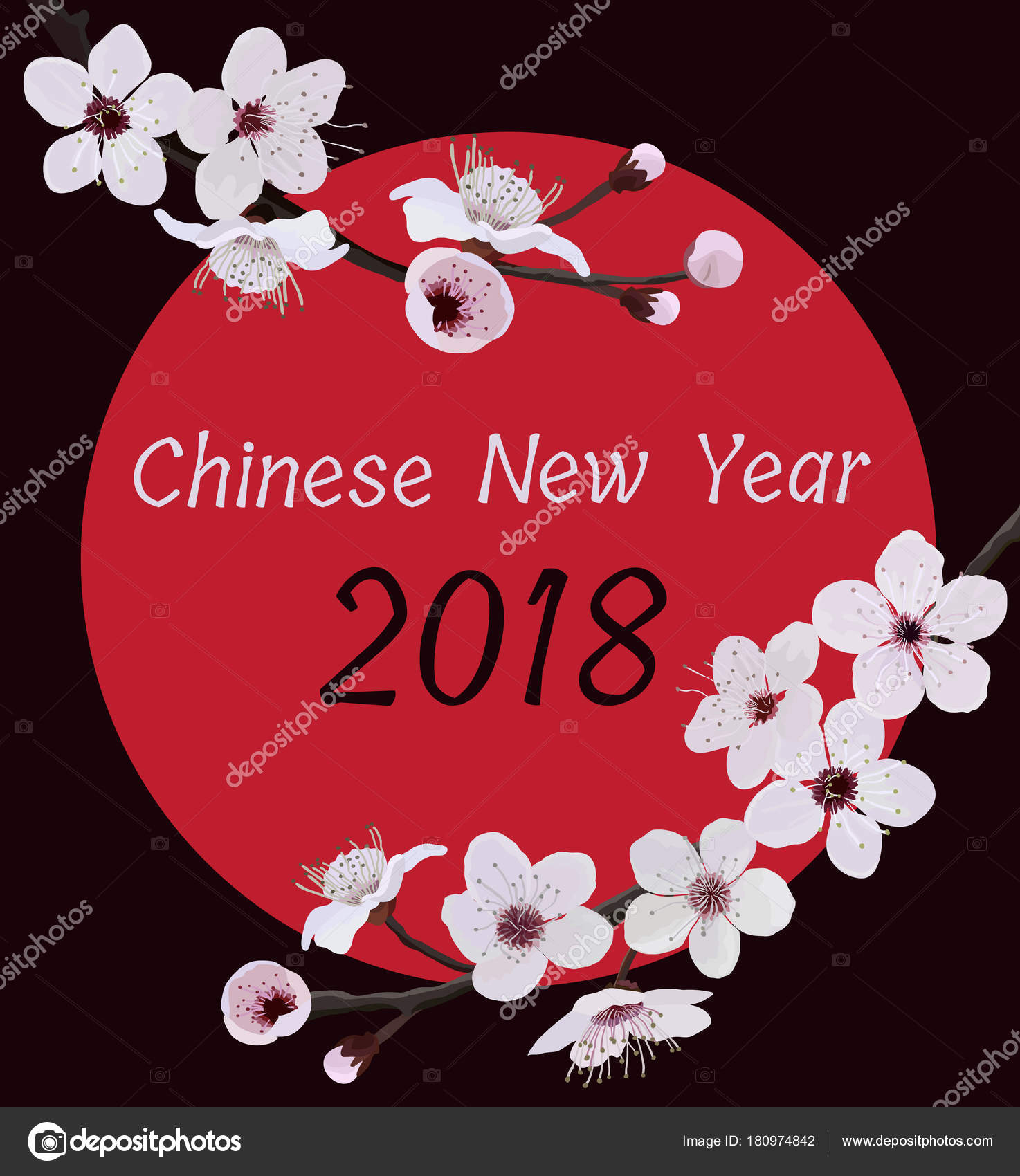 chinese new year 2018 template sakura branch on black vector illustration vector by nikitinaolga
