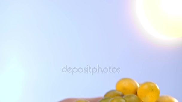 Zár-megjelöl szemcsésedik-ból sárga szőlő-a sky-backrgound