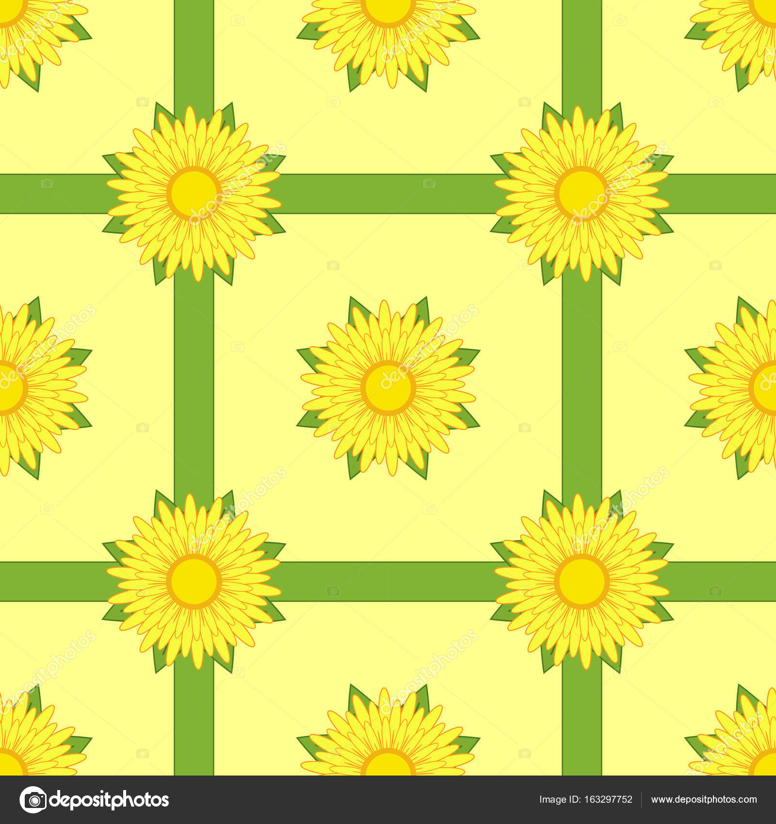 Seamless Pattern Of Yellow Flowers With Ribbons And Leaves On A