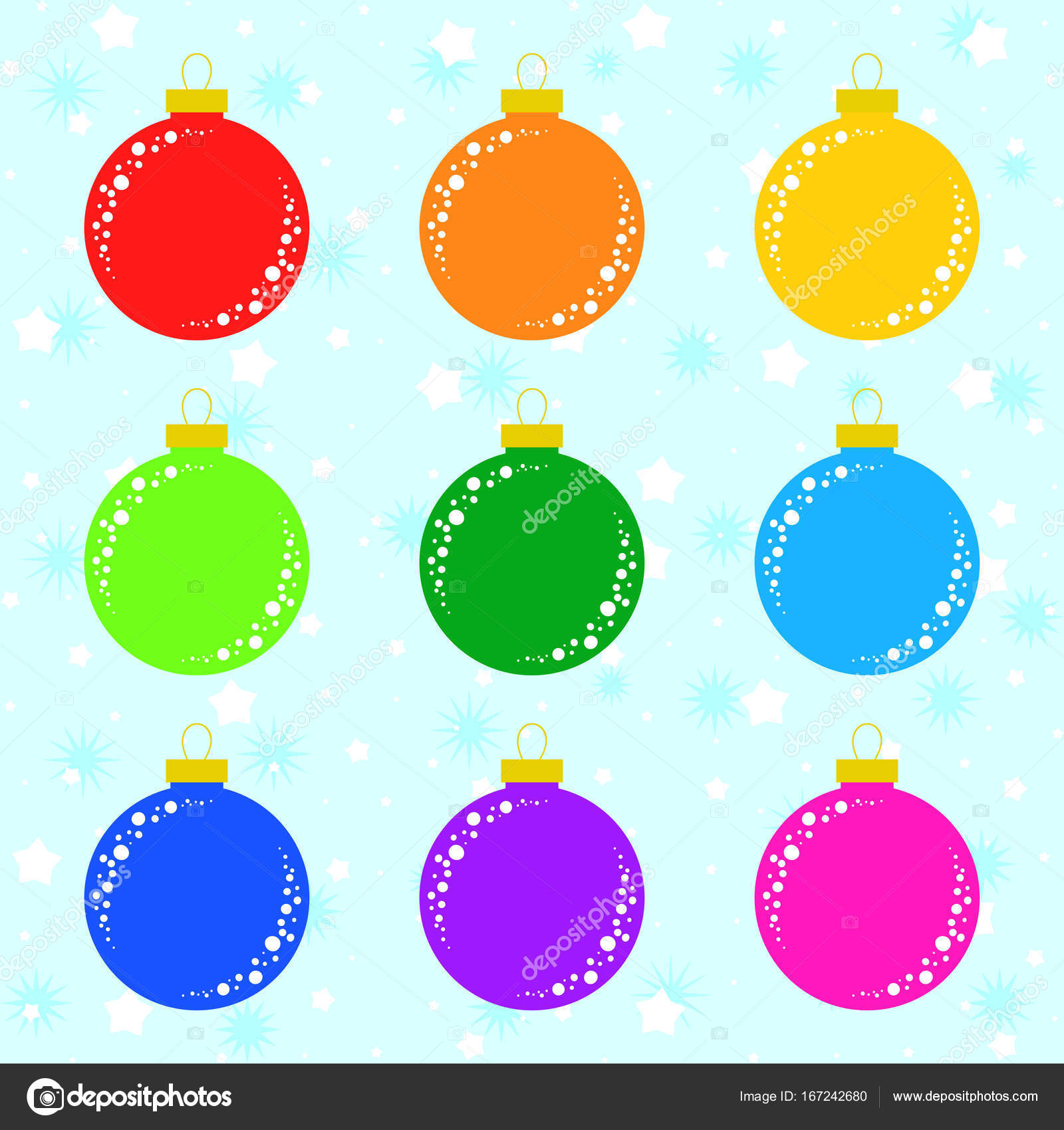 set of flat colored isolated christmas tree toys decoration balls are red orange