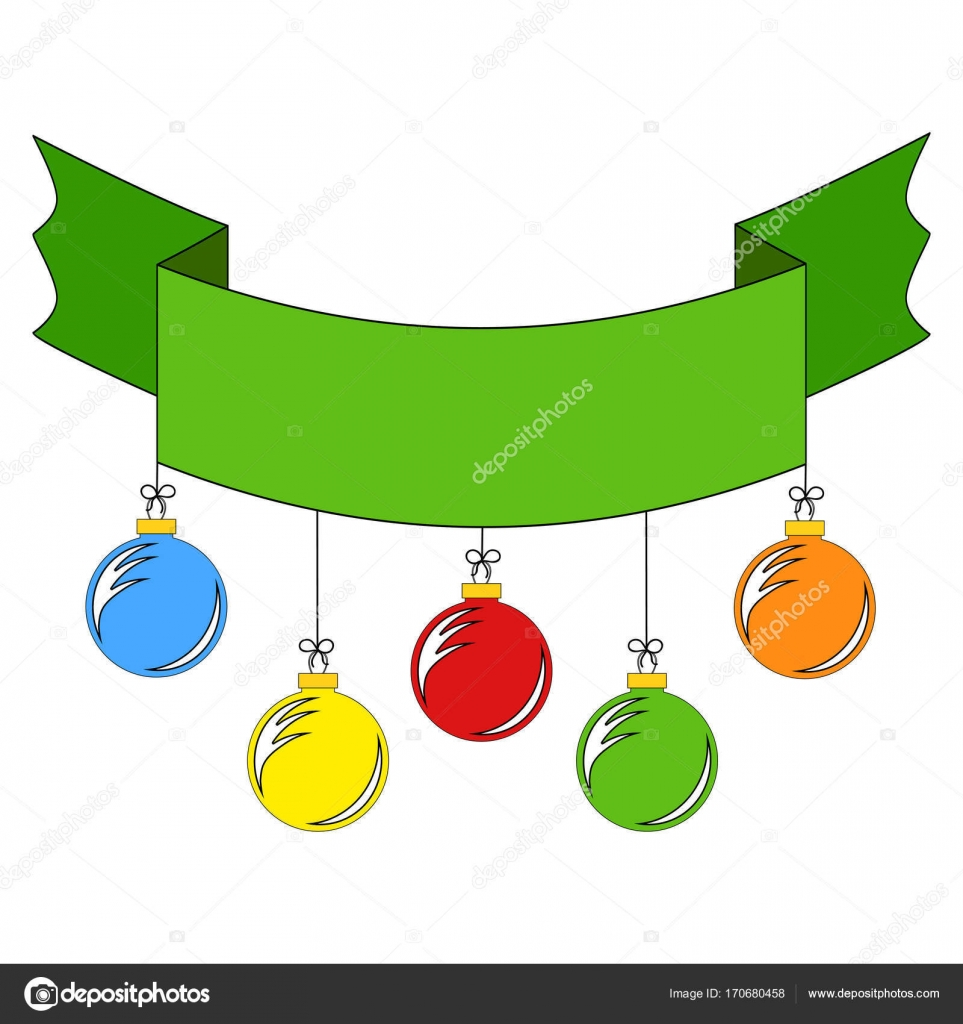 Ribbon banner in green color, decorated with colored Christmas tree ...
