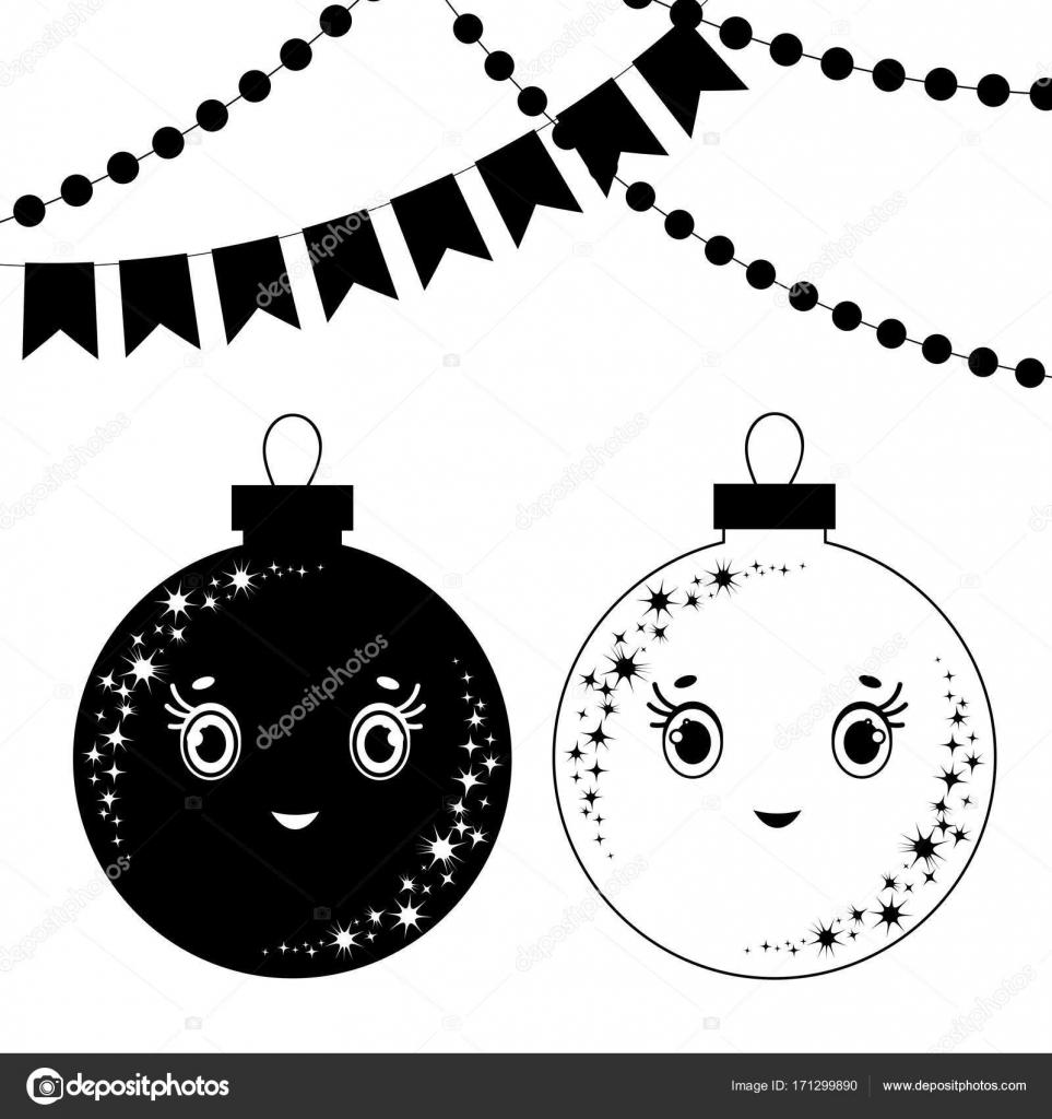 Croissant Une série de silhouettes plat noir et blancs des boules de jouets SF-41