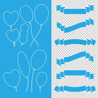 Set of colored isolated cute balloons and ribbon banners on a blue and transparent background. With a white stroke. Simple flat vector illustration. Suitable for the design of postcards, weddings, hol