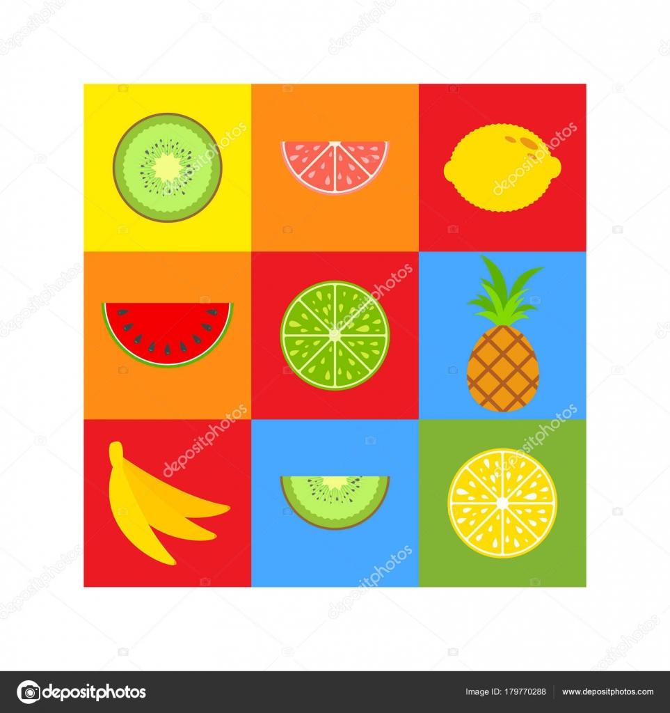 Eine Reihe von farbigen isolierte köstlichen Früchte auf Quadrate in ...