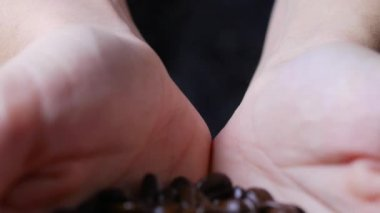 Female hands holds coffee beans