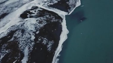 Aerial View Of Beautiful Winter Lake With Ice At Daytime, Iceland