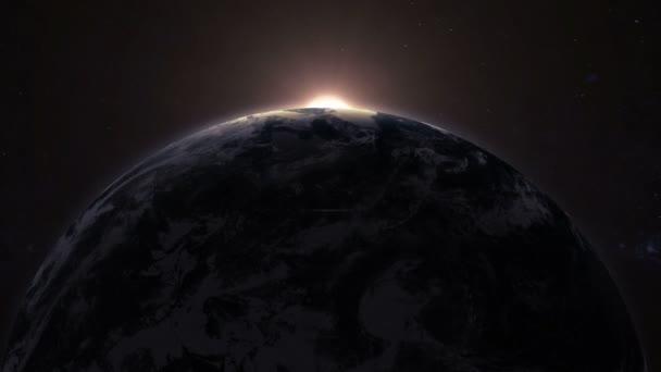 Země, otočení v prostoru a východ slunce s jasná záře