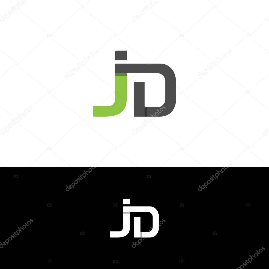 letter jd typography logo design with shadow isolated on a black and white background premium vector in adobe illustrator ai ai format encapsulated postscript eps eps format letter jd typography logo design with