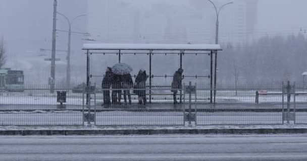 People  waiting for a bus at the bus stop in winter. Trolleybuses, buses and cars on the background.