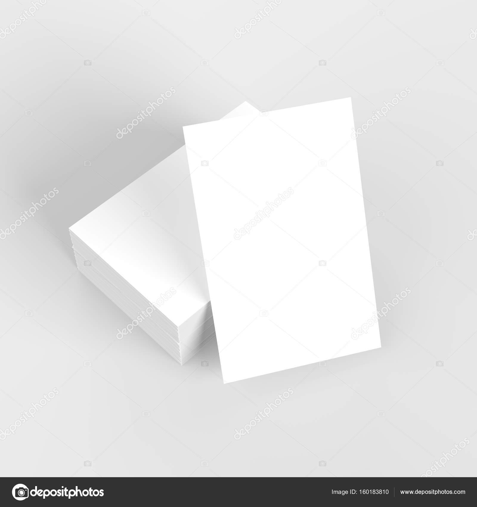 Carte De Visite Maquette Sur Fond Blanc Avec Des Ombres Douces Et Met En Evidence 3D Illustree Image