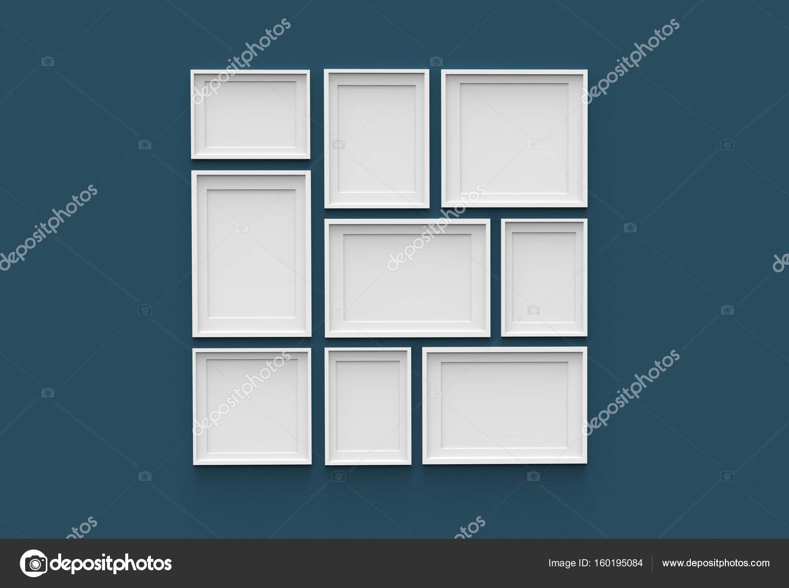 Picture frame isolated on dark blue drywall background — Stock Photo ...