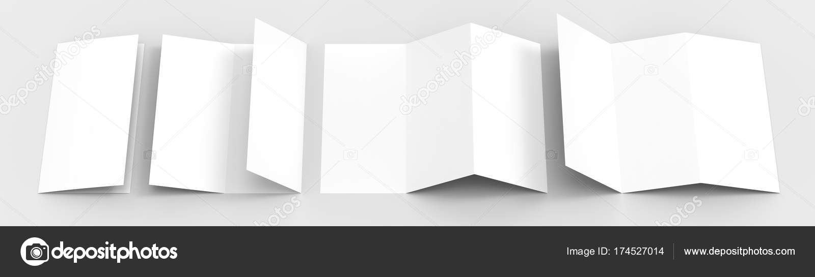 a4 blank trifold paper brochure mock up on soft gray background