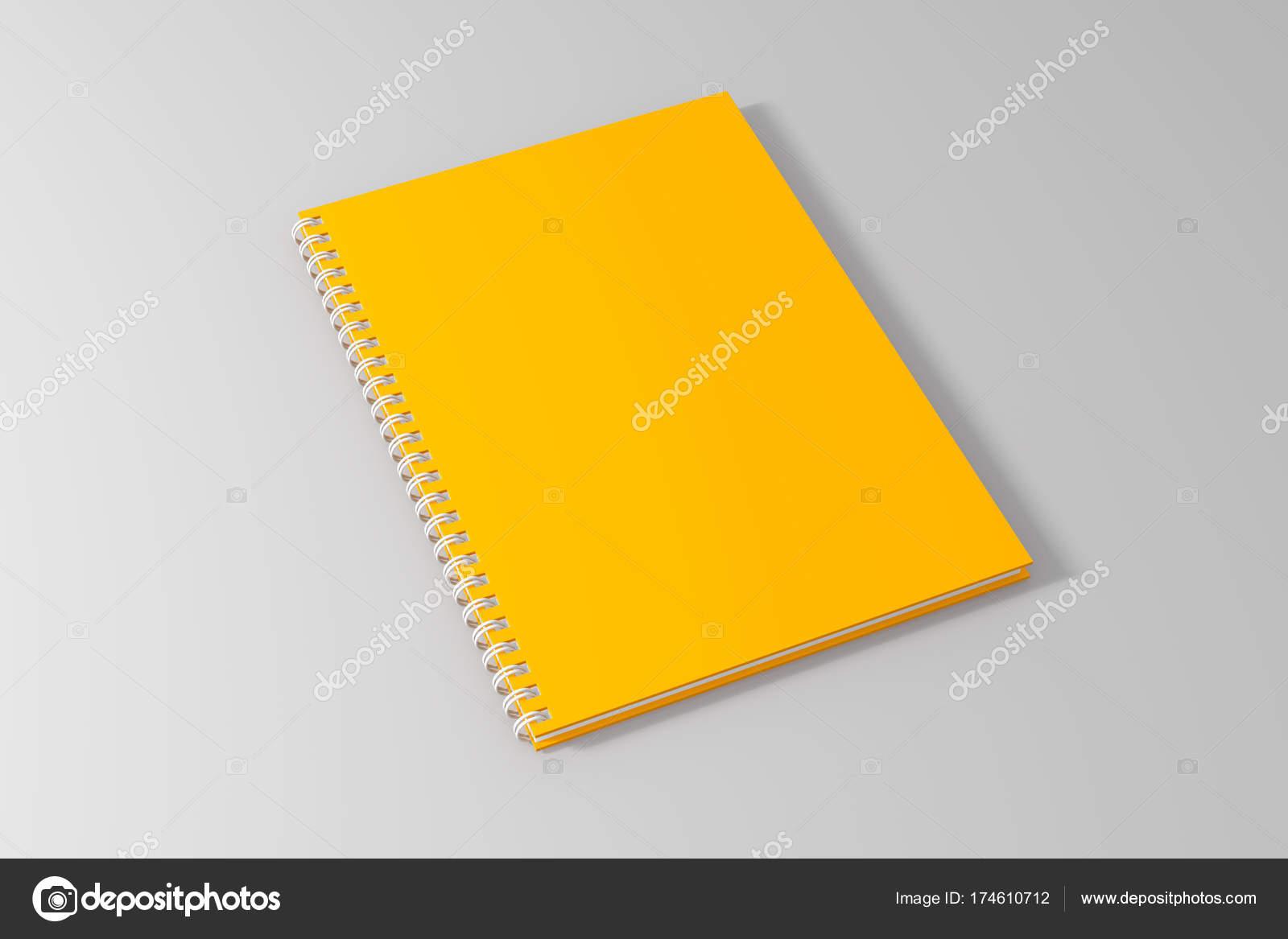 14dddc8befb Leer leere gelbe Spirale Notebook Vorlage auf sauberen, weißen Hintergrund.  3D dargestellt — Foto von ...