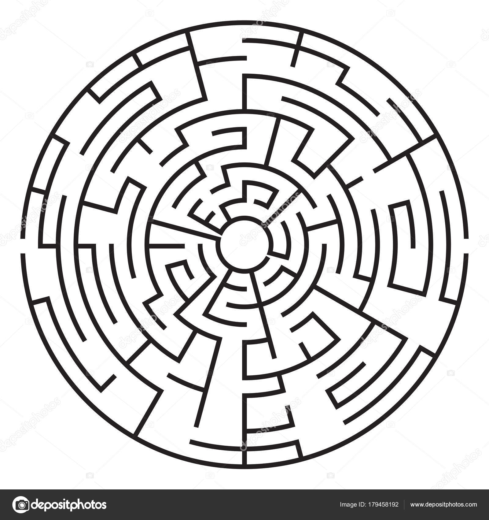 Circular maze isolated on white background  Medium complexity