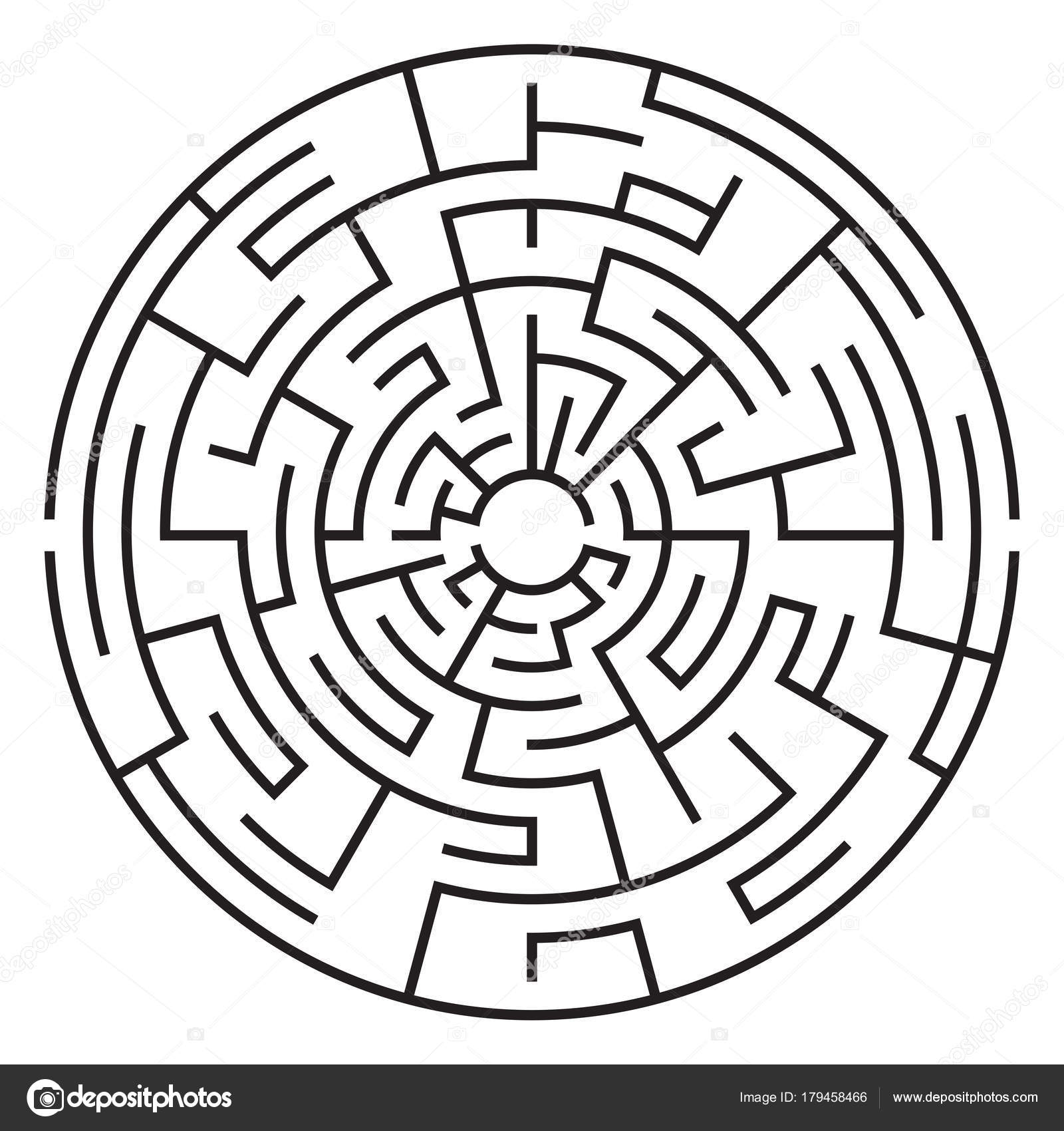Circular maze isolated on white background  Medium