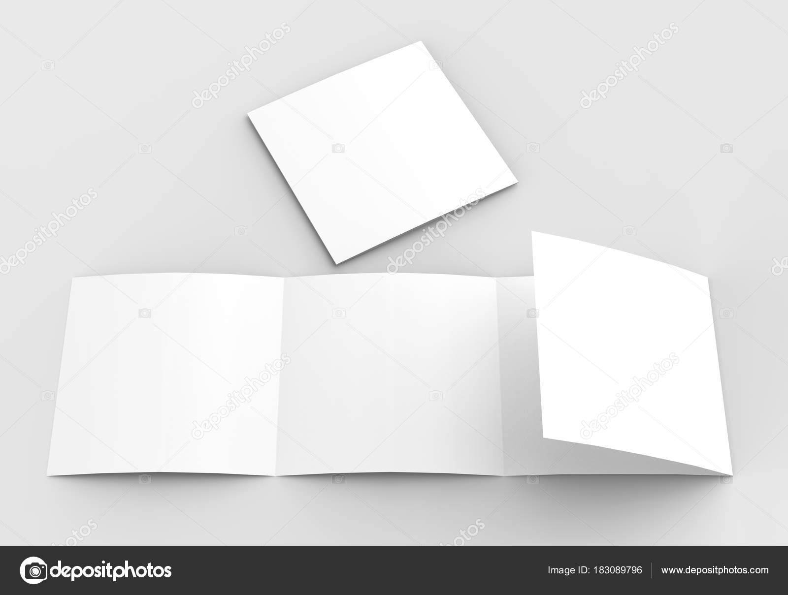 square four folded 4 fold brochure mock up isolated on soft