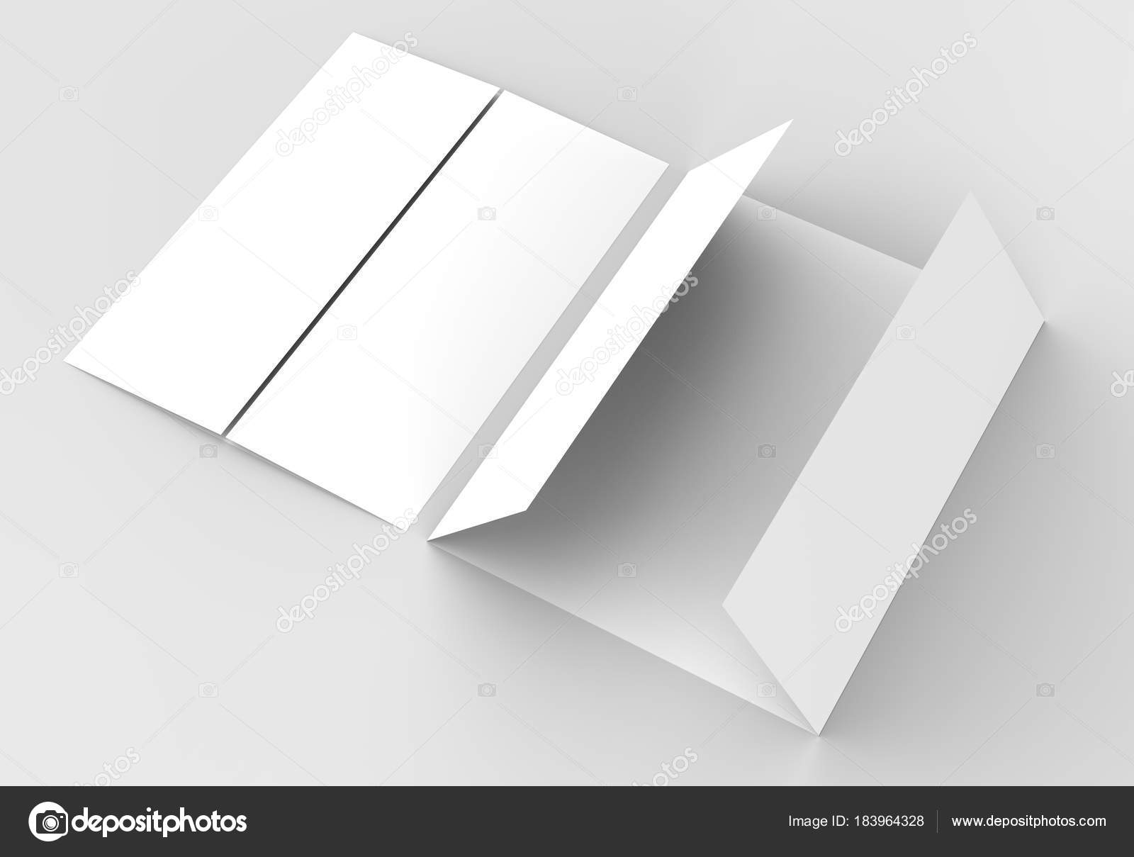 Double Gate Fold Vertical Brochure Mock Up Isolated On Soft Gray  Background. 3D Illustratin U2014 Photo By Sarmdy