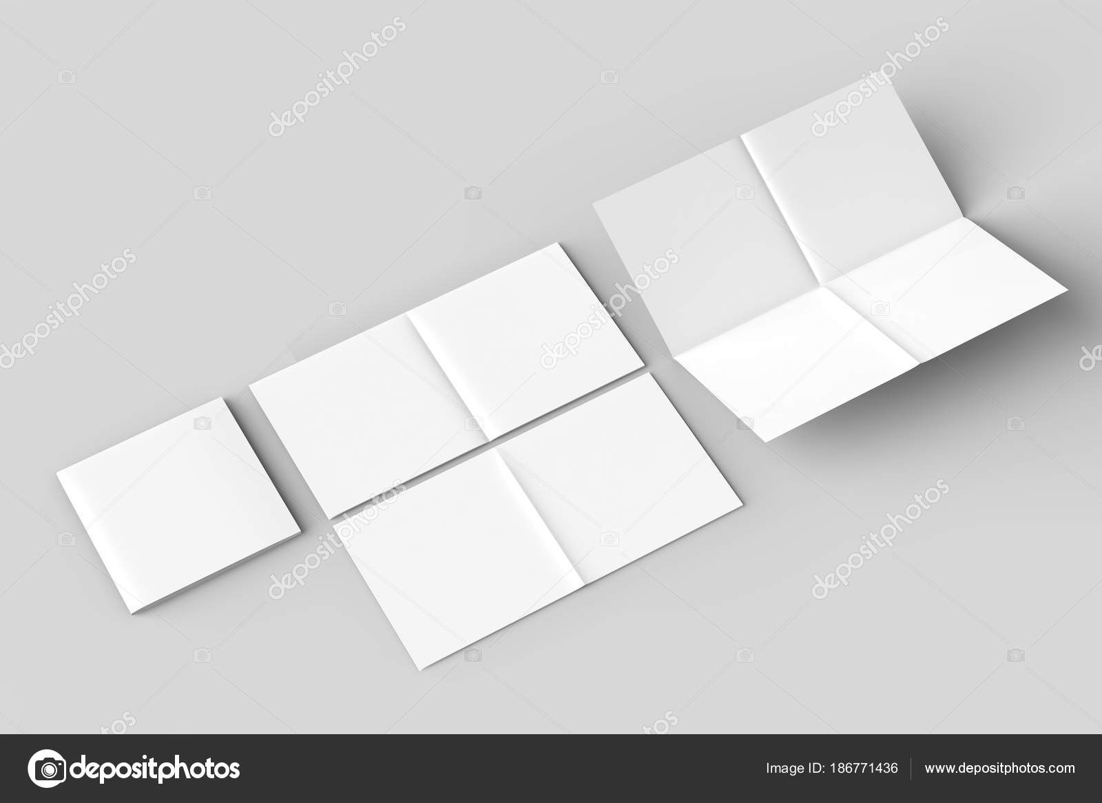 8 page leaflet french fold square brochure mock up isolated on