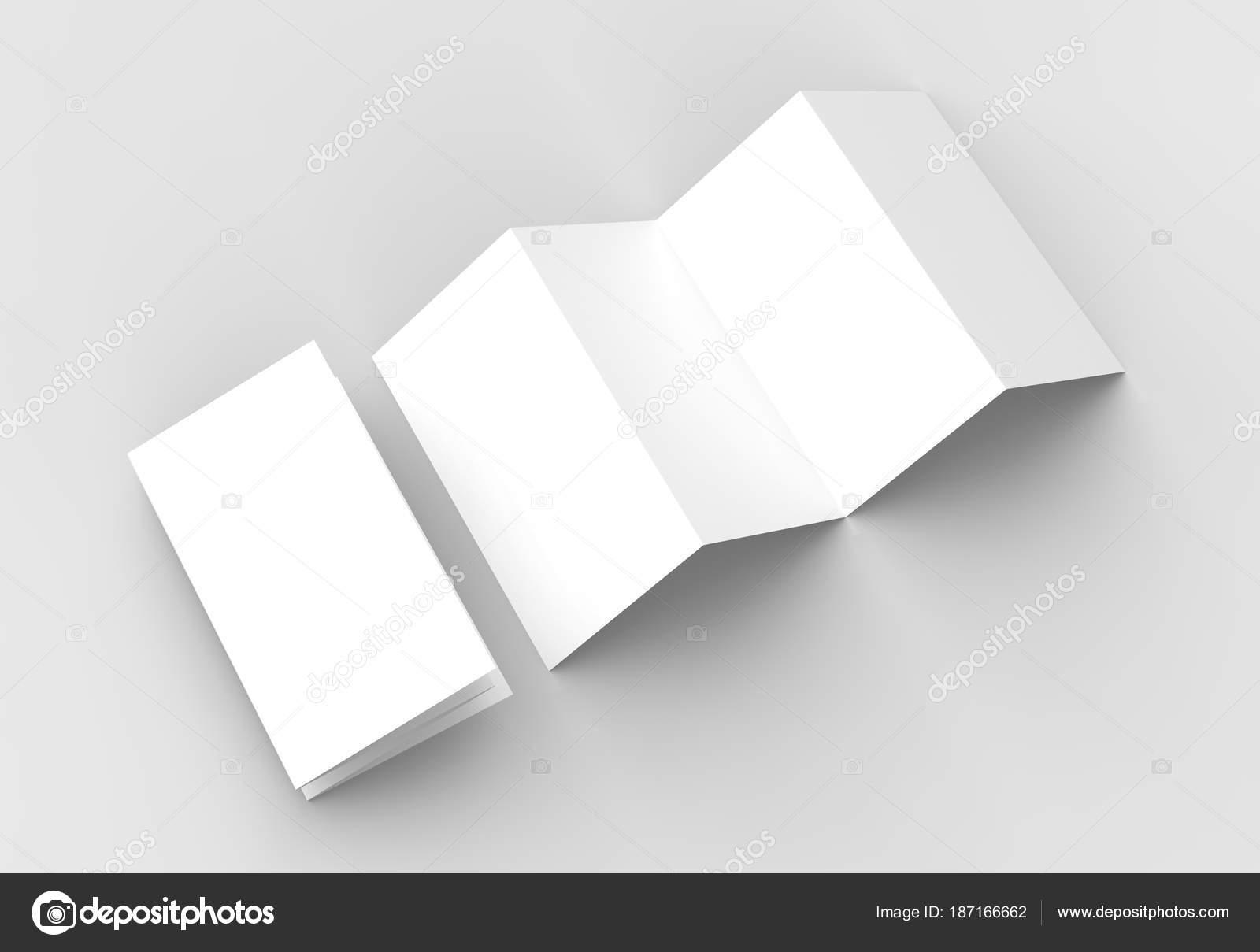 8 page leaflet 4 panel accordion fold vertical brochure mock up