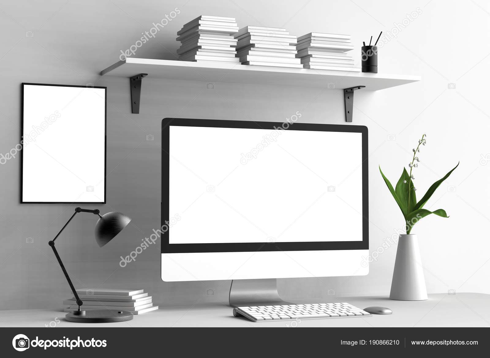 Modern workspace, isolated computer screen and frame mock up. 3D ...