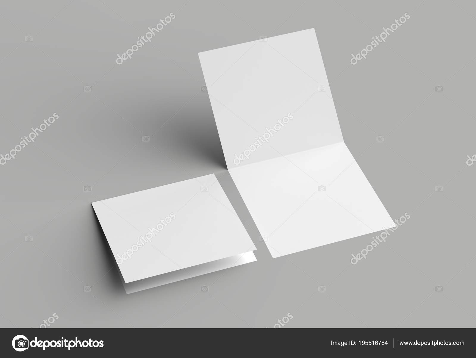 Bi Fold Square Brochure Or Invitation Mock Up Isolated On