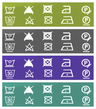 Multi-colored tags with instructions for the care of tissues stock vector