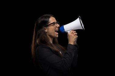 businesswoman yelling in megaphone