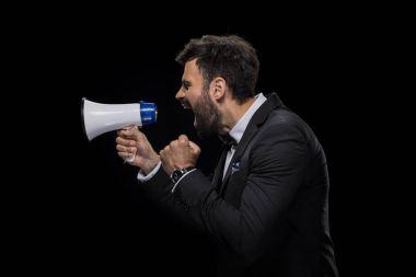 businessman yelling in megaphone