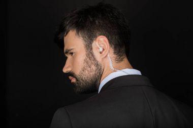Secret service agent with earphone