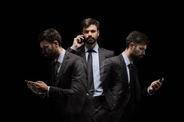 busy businessman with smartphone