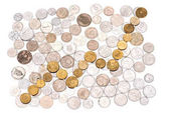 rendezett különféle érmék
