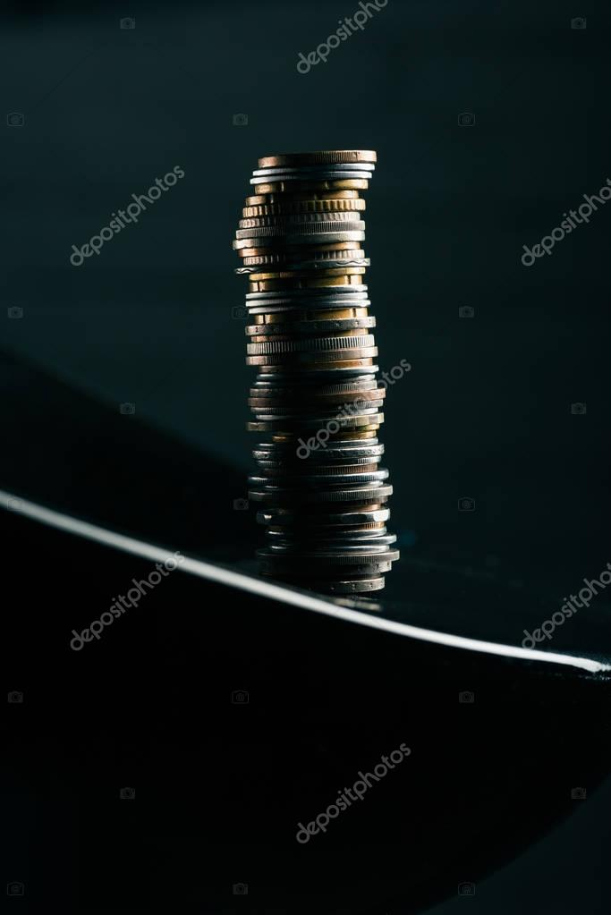 stack of coins on table