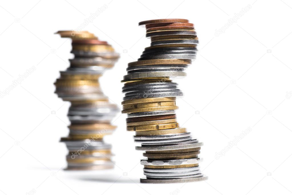 stacks of various coins